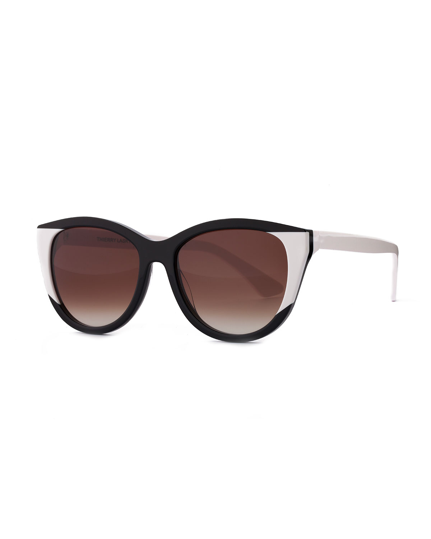 Flattery Cat-Eye Sunglasses, Black/White, Blkwht - Thierry Lasry