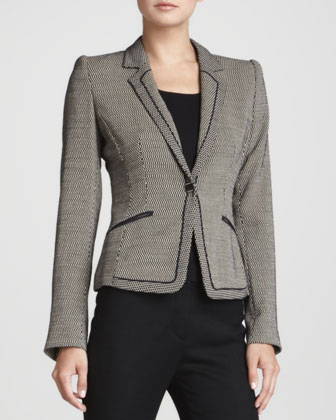 Geometric Jersey One-Button Jacket