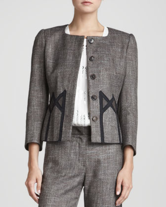 Geometric-Inset Tweed Jacket