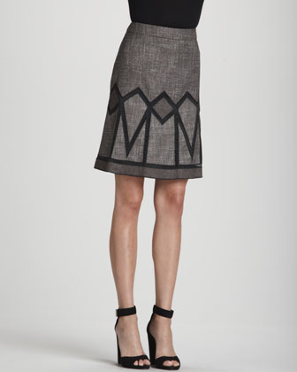 Seam-Detail 3/4-Sleeve Pullover & Geometric-Inset Tweed Skirt