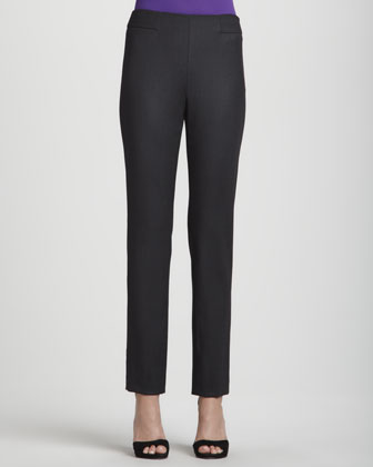 Narrow Wool Twill Pants, Anthracite