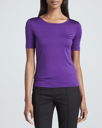 Stretch Silk Jersey Top, Purple