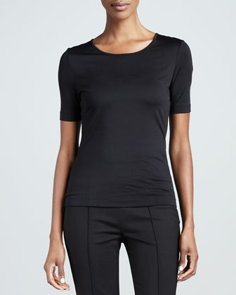 Stretch Silk Jersey Top, Black