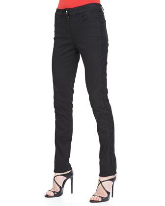 Lace-Trim Skinny Jeans