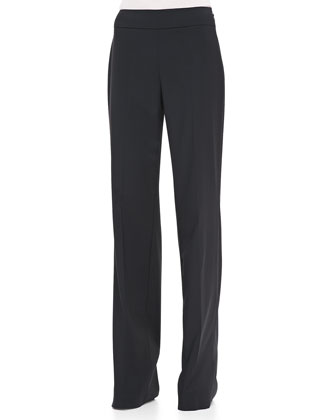 Side-Zip Wide-Leg Classic Trousers