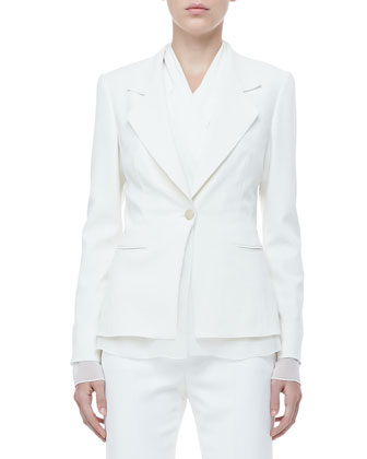 One-Button Jacket, Drape-Front Blouse & Twill Classic Pants