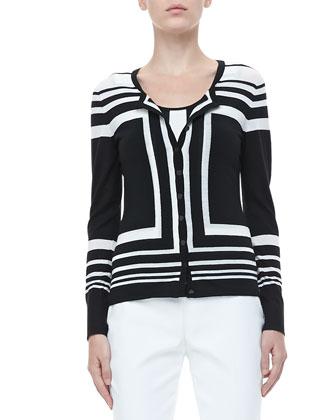 Colorblock Striped Cardigan