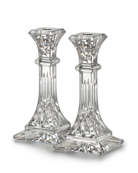 Waterford Crystal Medium Lismore Candlestick, Set of 2