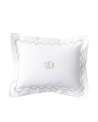 Embroidered Percale Breakfast Sham, Plain