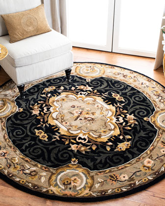 Aubusson Night Rug, 6' Round