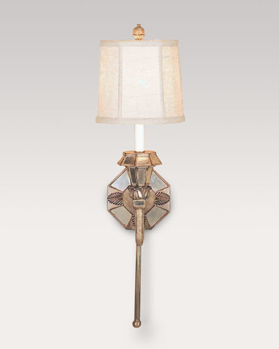 Old World Design Llc Mirrored Sconce with Linen Shade