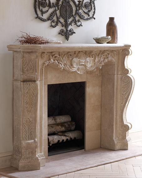 Stone Scroll Mantel