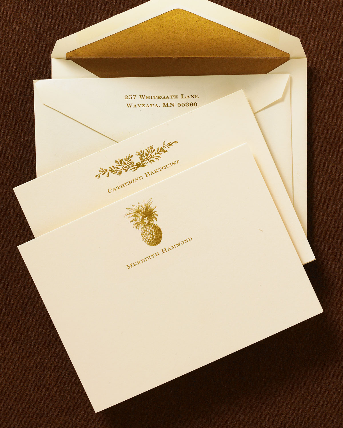 50 Cards/Pers. Envelopes, Pineapple Motif - Neiman Marcus