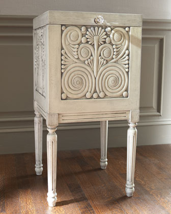 White Carved File Box