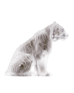Lalique Crystal Sitting Tiger