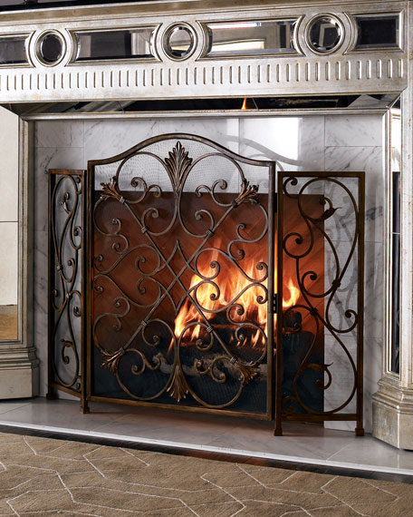 Ambella valencia fireplace screen neiman marcus Decorative fireplace covers