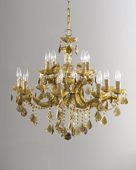 Crystorama Golden Teak 12-Light Chandelier