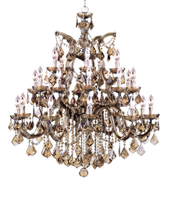 26-Light Golden Teak Chandelier