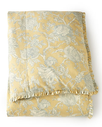 Queen Spring Garden Toile Duvet Cover, 90