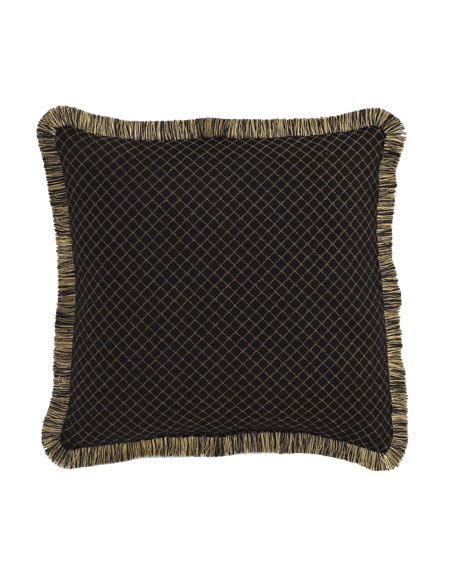 "Diamond-Pattern Gustone Pillow, 19""Sq."