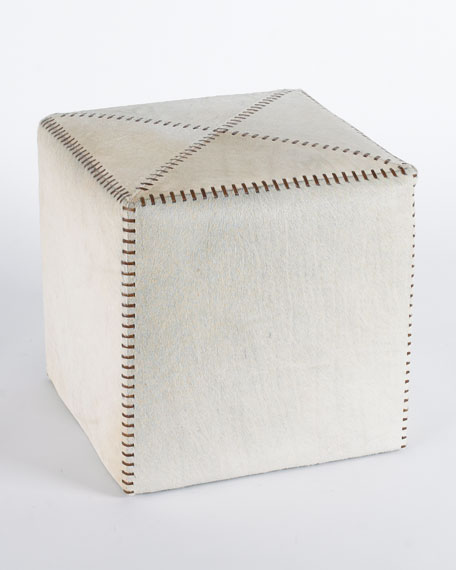 Small White Hairhide Ottoman