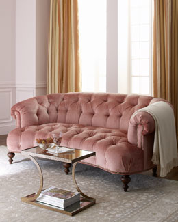"Old Hickory Tannery ""Brussel Blush"" Tufted Sofa"
