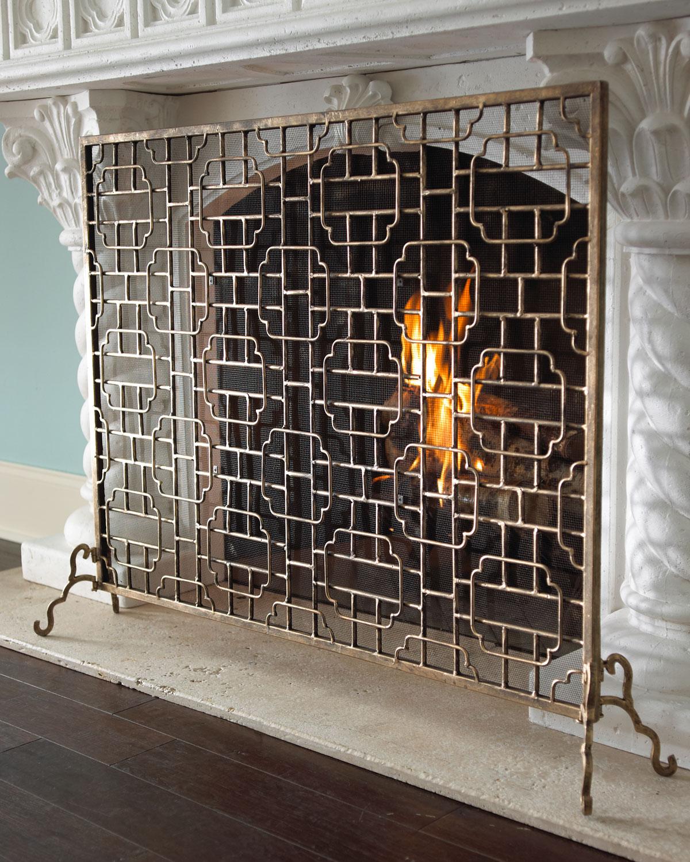 single panel fireplace screen neiman marcus rh neimanmarcus com Decorative Fireplace Screens tall fireplace screens 40 h