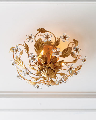 Crystal Flower Flush-Mount Light Fixture