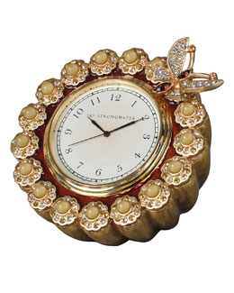 "Jay Strongwater ""Maiti"" Flower-Edge Clock"