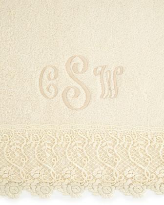 Callista Lace Bath Towel, Monogrammed