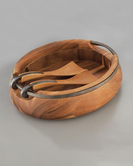 "Nambe ""Anvil"" Salad Bowl & Servers"