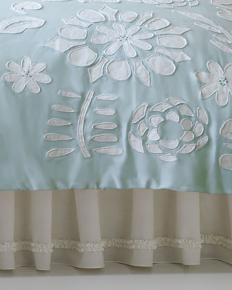 Twin Cloud Aqua Comforter w/ Floral Applique