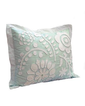 Twin Cloud Aqua Comforter w/ Floral Applique