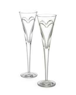 "Waterford Crystal Two ""Wishes, Love, & Romance"" Flutes"