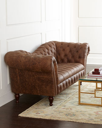 Oak Leather Recamier Sofa