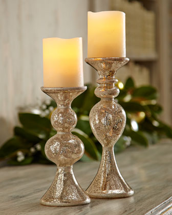 Two Glass Candlerholders