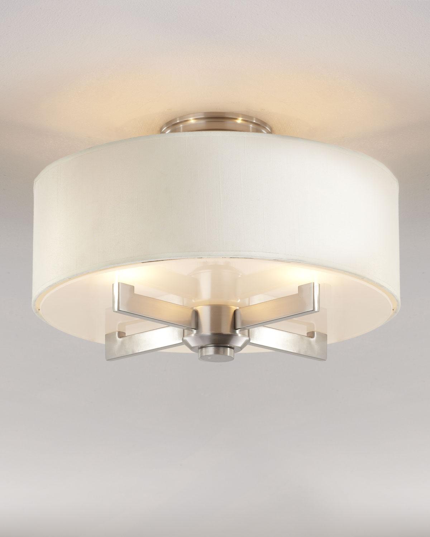 Silver Satin Semi Flush Ceiling Fixture Neiman Marcus