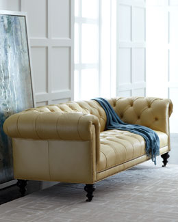 "Old Hickory Tannery ""Fenway"" Tufted Leather Sofa"