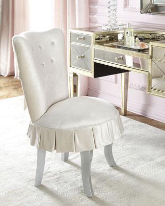 Shelly Vanity Chair & Amelie Mirrored Vanity