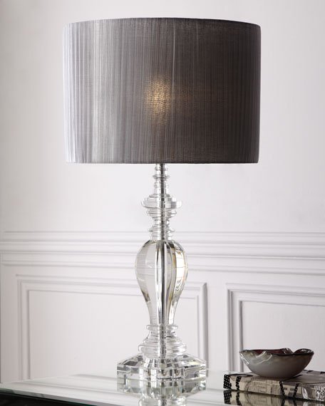 Neimanmarcus Pleated Shade Crystal Lamp