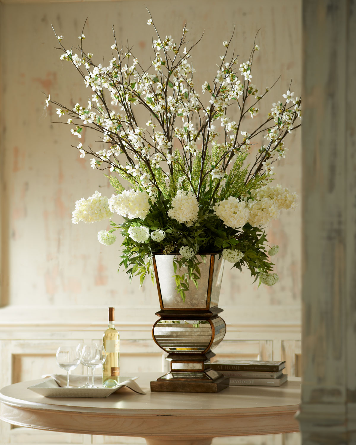Ivory Arrangement in Mirrored Planter, White - John-Richard Collection