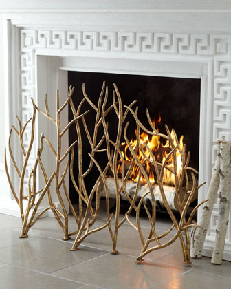 Golden Branch Fireplace Screen & Log Holder