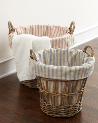 Wicker Laundry Baskets with Ticking-Stripe Liners