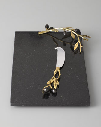 Golden Olive Branch Cheese Board & Knife
