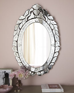 """Ernhart"" Oval Venetian-Style Mirror"