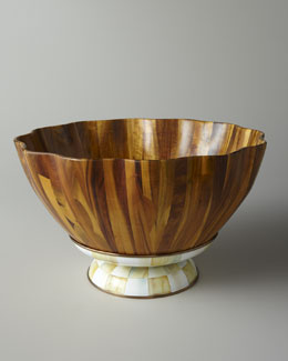 "MacKenzie-Childs ""Parchment Check"" Fluted Wooden Salad Bowl"