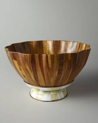 Parchment Check Fluted Wooden Salad Bowl