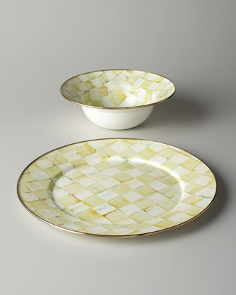 Parchment Check Serving Platter & Bowl