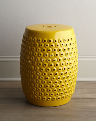 Yellow Pierced Ceramic Stool