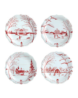"Juliska Four Ruby ""Winter Frolic"" Party Plates"